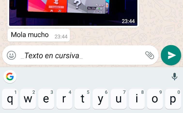 Cómo escribir texto en cursiva en WhatsApp