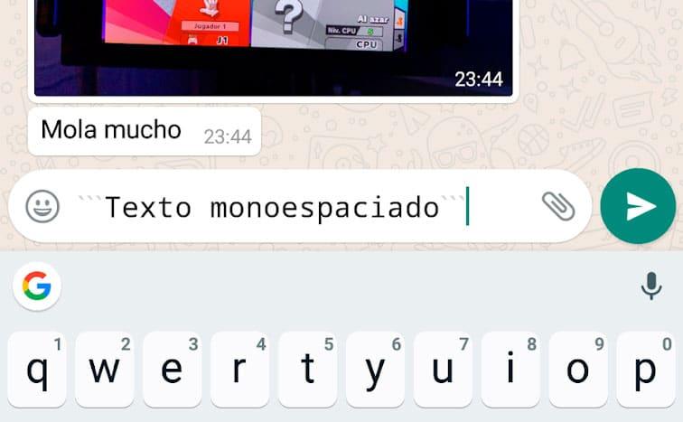 Cómo escribir texto monoespaciado en WhatsApp
