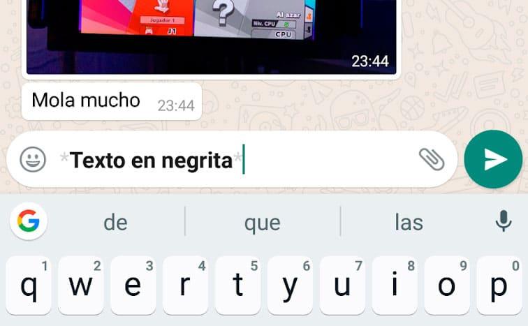cómo escribir texto en negrita en WhatsApp
