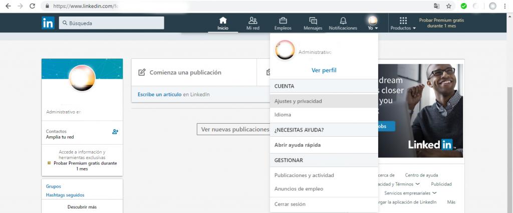 LinkedIn. Yo>Ajustes y privacidad