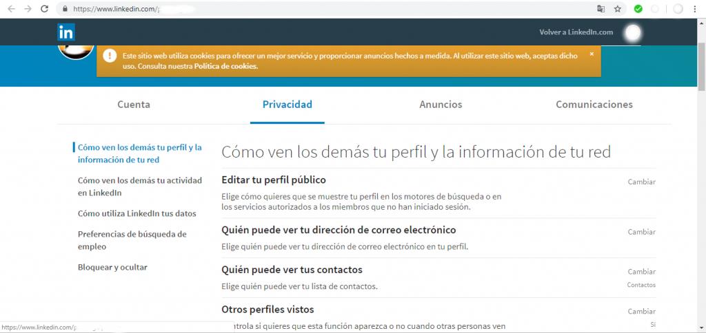 LinkedIn. Privacidad
