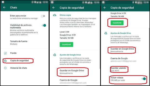 Configuración copia seguridad WhatsApp. Android