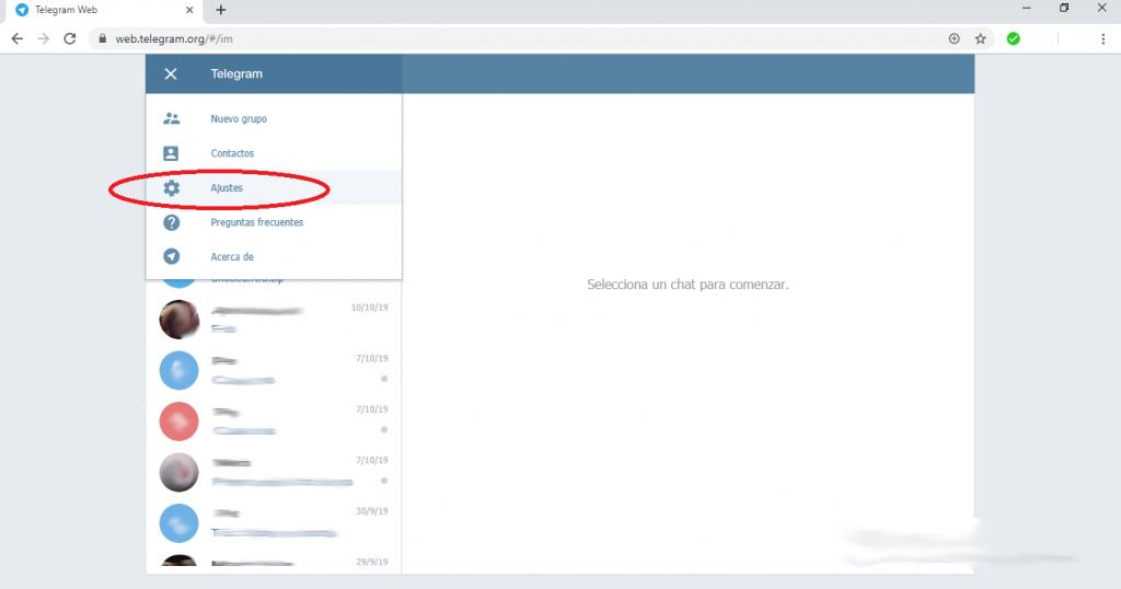 Como cerrar sesión en Telegram Web