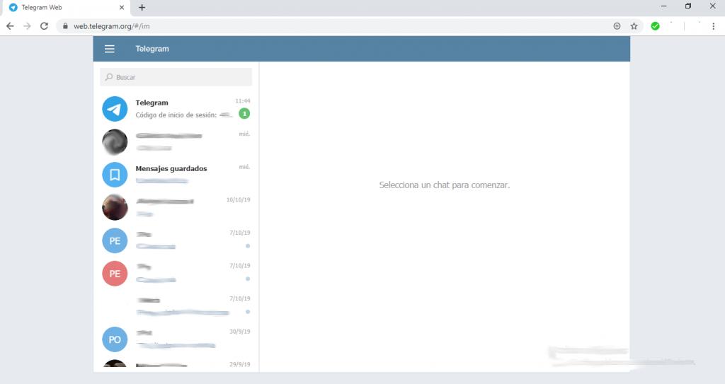 Sesión Telegram Web
