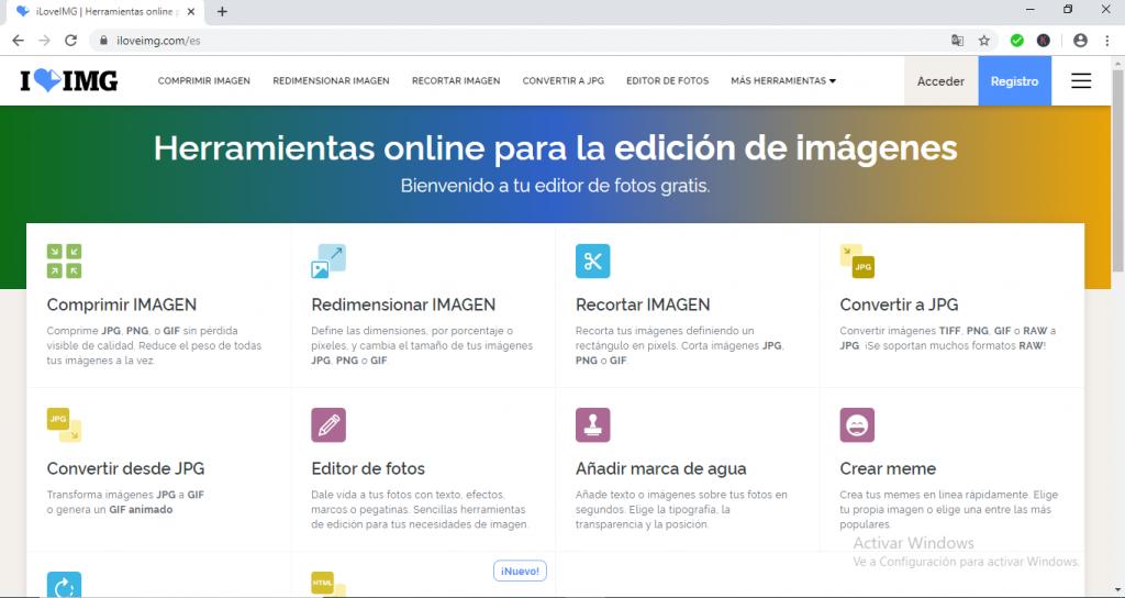 Web oficial de ILOVEIMG
