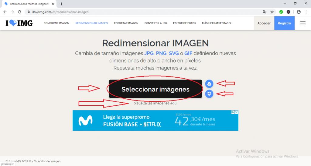 Seleccionar imagen para redimensionar en ILOVEIMG. Distintas opciones